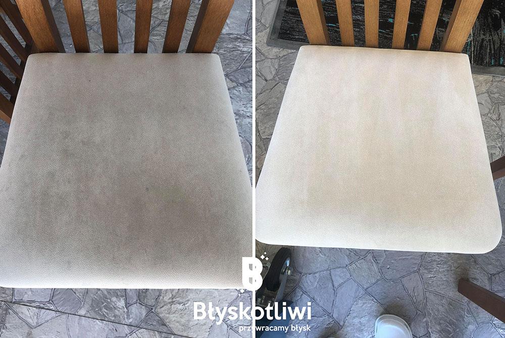 pranie tapicerki krzesło przed i po