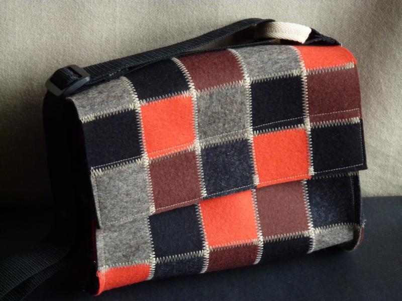 Handtasche aus Wollfilz, Patchwork