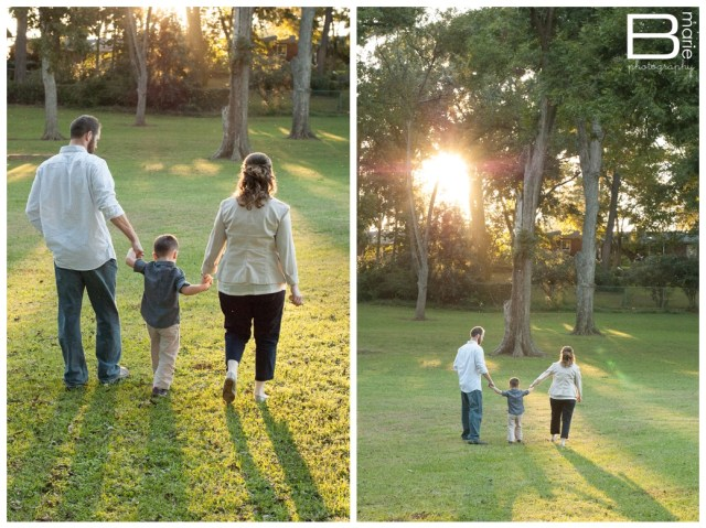 Family portraits in a park at sunset