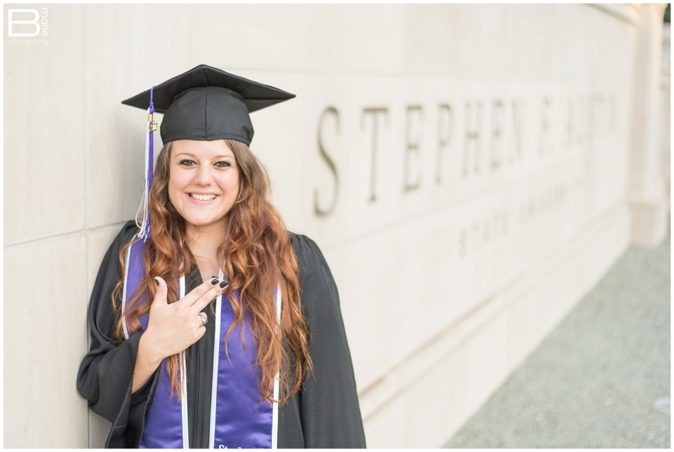 Nacogdoches photographer images of SFA graduate on SFA campus