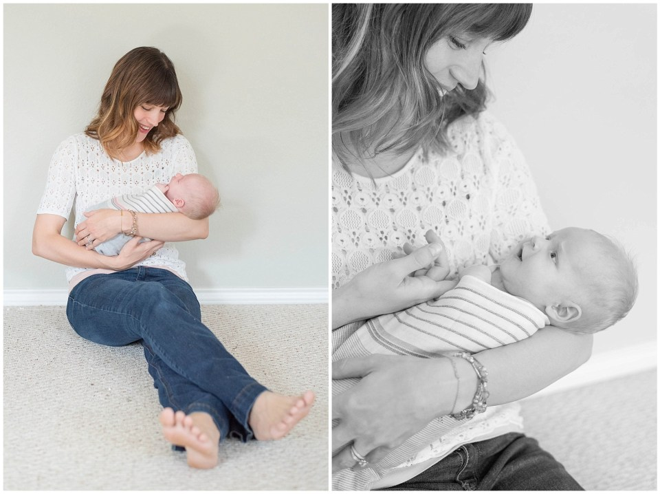 Kingwood newborn photographer at-home combination posed & lifestyle session with baby girl