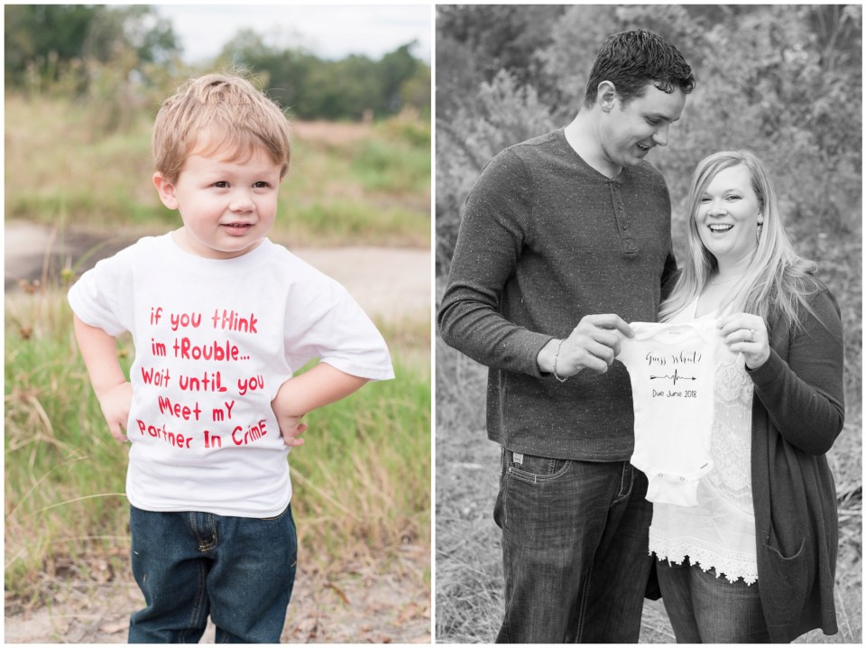 Kingwood family photographer - fall family portrait session in Kingwood with surprise pregnancy announcement