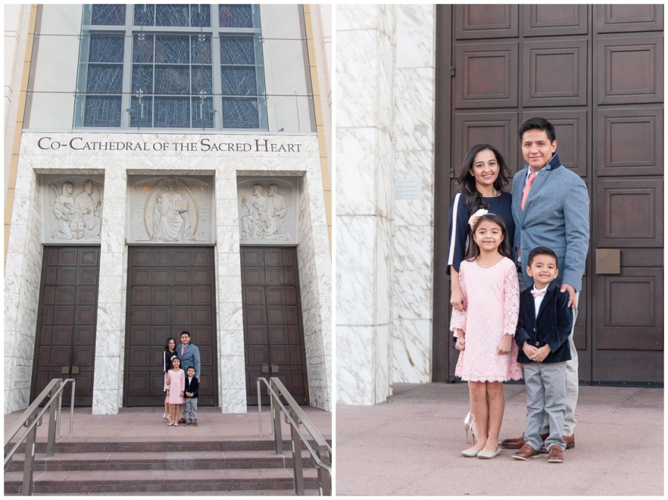 Kingwood photographer's early morning family portrait session in downtown Houston with family of 4