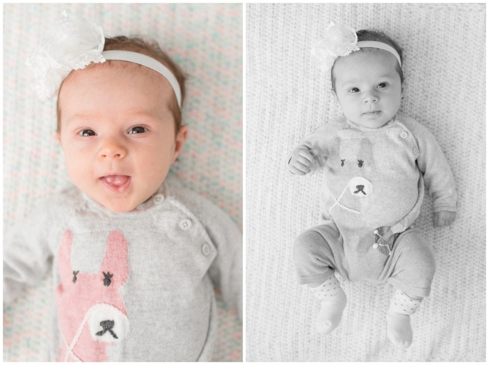 Kingwood photographer's at-home portrait session for two month old baby girl in Houston