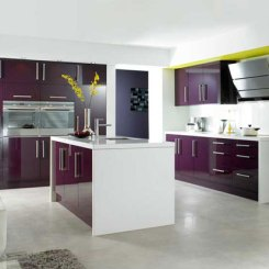 Kitchen Cabinet Systems (Aubergine Gloss Slab Doors)