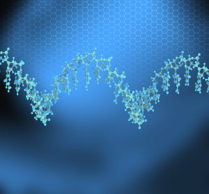 blue scientific background with DNA molecule
