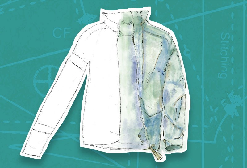 Sketch of white HensWEAR jacket