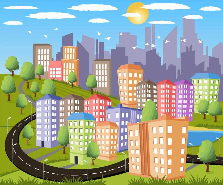 Cartoon illustration of a colorful modern city