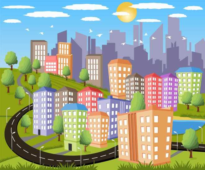 Cartoon illustration of a colorful modern city