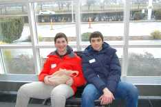 Jared Heller '18 and Alex Dolan '17 discuss news before the tour beings. Photo by Noa Schabes '17.