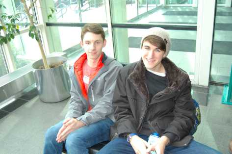 Jack Duroucher '18 and Anders O'Neill '16 wait for the tour to begin. Photo by Noa Schabes '17