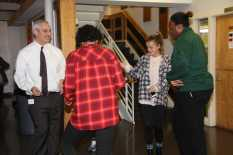 Upper School Head Joshua Neudel dances with students.