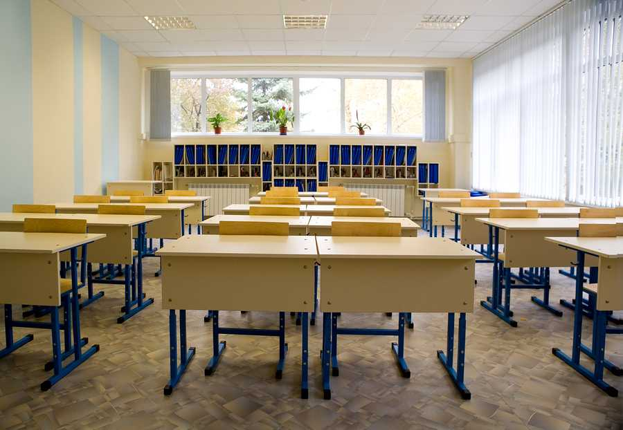 Empty class at school