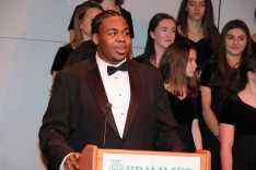Photo by Jody Weinberg: Raymani Walker '17 delivers address.