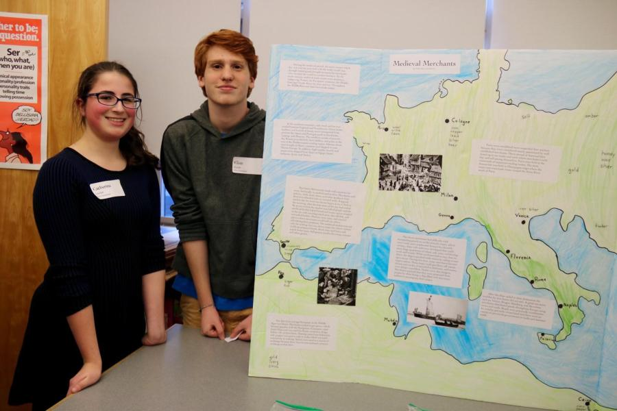 Sophomores+Elias+Kazin+and+Catherine+Leader+present+their+Chaucer+exhibit.+