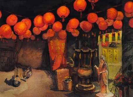 Randong Yu, Honorable Mention - Painting - Lanterns