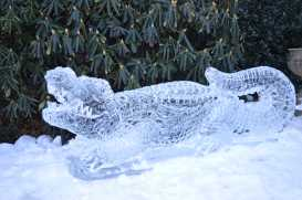 A mysterious kind soul left a marvelous ice sculpture of a Gator in front of the Lower School building. Photo by Caroline Ellervik '18.