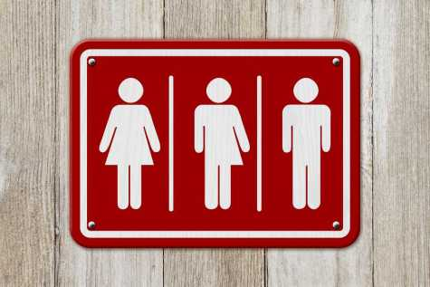All inclusive transgender sign Red and white sign with a woman a transgender and man symbol on weathered wood 3D Illustration