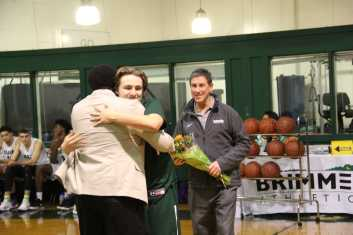 Dylan Rigol '18 celebrates his last home game, playing for the Gators. Photo by David Cutler.