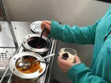 Students enjoy the new yogurt machine, installed this week. Photo by Caroline Ellervik '18.