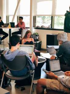 Students use multiple devices in the Innovation Space.