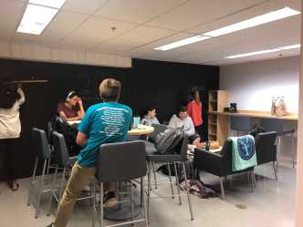 Students enjoying the new Senior Lounge. Photo by Sita Alomran '19.