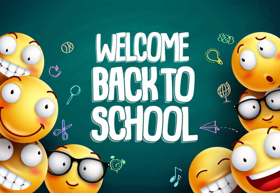 Smileys+back+to+school+vector+background+design.+Yellow+smiley+emoticons+with+welcome+back+to+school+text+in+blackboard+background+for+education.+Vector+illustration.