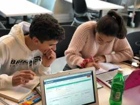 Paola Mammano '20 and Charles Marconi '20 working on a project. Photo By Sita Alomran '19