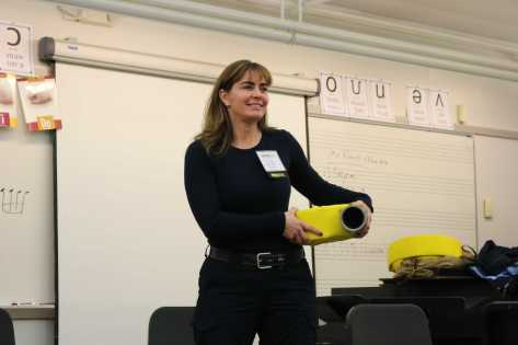 Firefighter presenter. Photo By Sita Alomran '19.