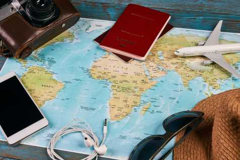 Passport, photo camera, smart phone, sunglasses, straw hat and travel map, traveler items vacation travel accessories holiday long weekend day off travelling stuff equipment background view concept