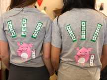 Students wearing the customized shirts. Photo By Sita Alomran '19