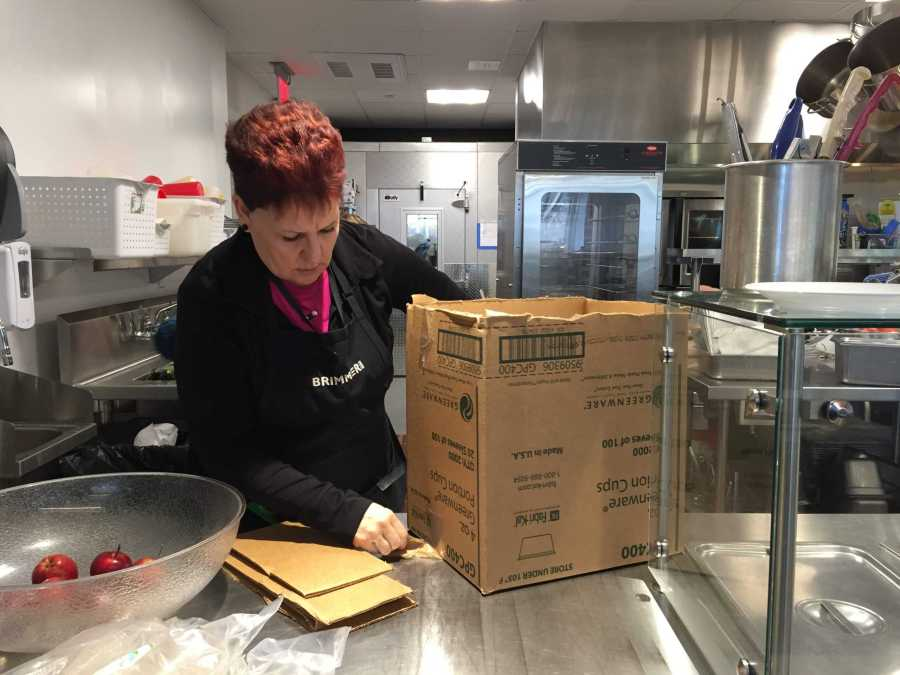 Debbie O'Malley  hard at work with inventory. Photo by Caroline Champa '20.