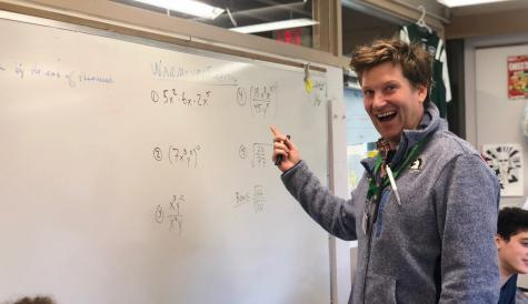 Math teacher Peter Slaski teaching AP Calculus.