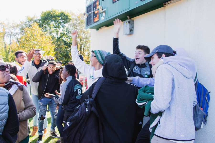 Brimmer students celebrate as the Girls' Soccer scores a goal to tie the game.