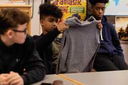"""Students discover new sustainable fabric in """"Sustainable Fashion in Boston and Beyond""""."""