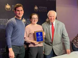 Greater Boston High School Newspaper Competition Director Richard Press presents Editors Miles Munkacy '20 and Caroline Champa  '20 with the first place prize for excellence in online journalism.