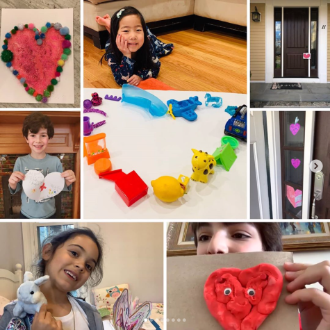 Lower School students show off their craft hearts.