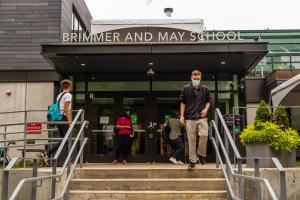 Students and faculty enter the Hastings Center on the first day of school.