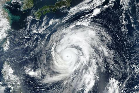 Hagibis super typhoon approaching the coast. The eye of the hurricane. Satellite view. Some elements of this image furnished by NASA. Photo purchased from BigStock.com.