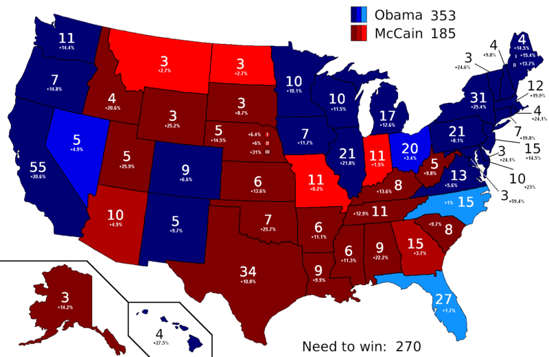 2008 US Electoral College Polling Map. Image courtesy of Wikimedia Commons.