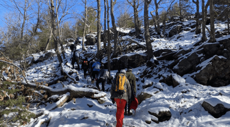 Upper School students engage on a 6-mile hike at Blue Hills.