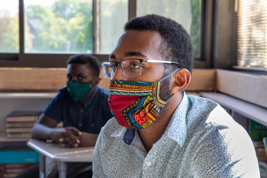Alphonse Houndegla '21 learns in person. Photo by David Barron.
