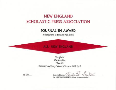 Gator Wins All-New England Journalism Award