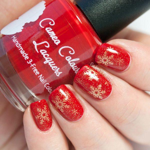Golden Hot Red Snowflakes Nailart Bmodish