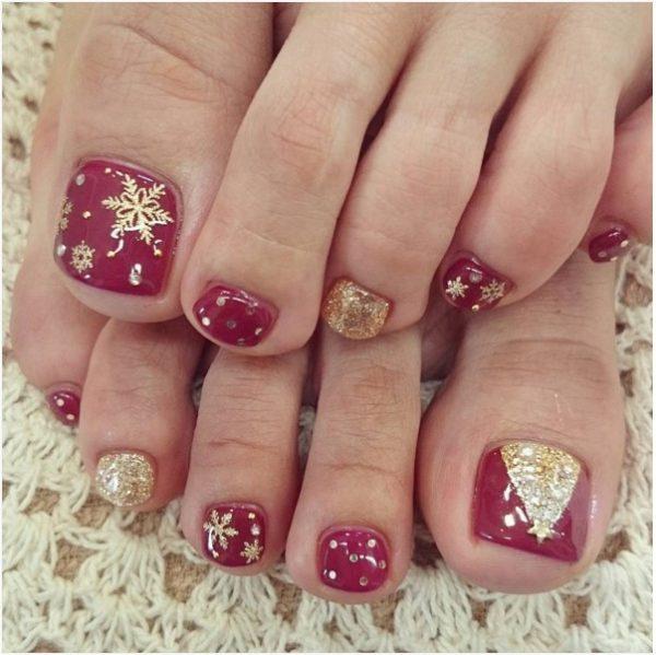 Gold Christmas Tree Toe Nail Art Bmodish