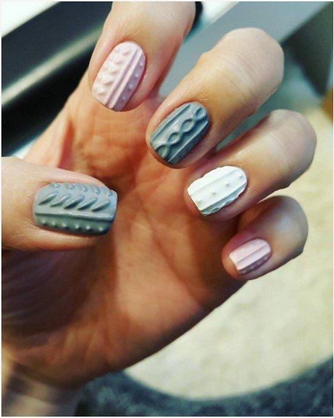 Grey And Pink Sweater Nail Design Bmodish