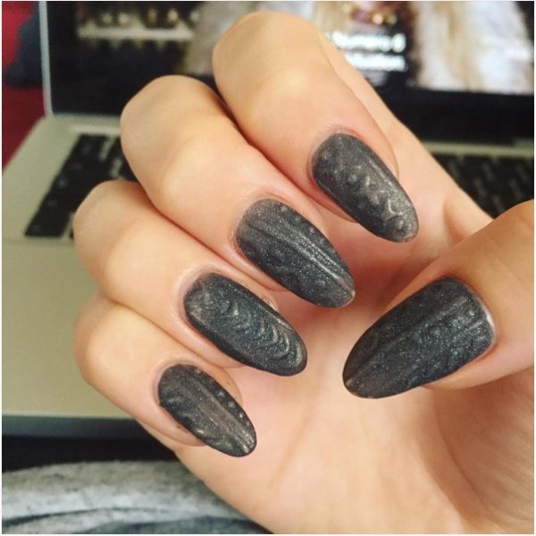 Grey Knit Nail Design Bmodish