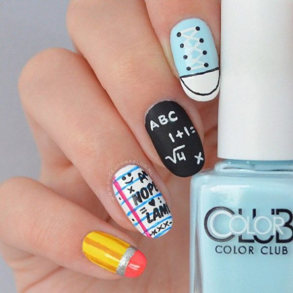 Back To School Easy Nail Art Bmodish