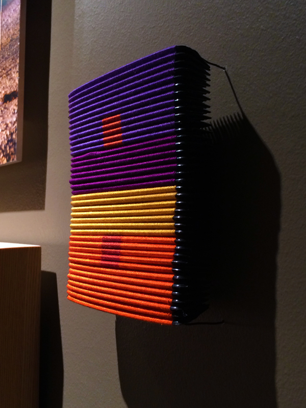 """Sonya Clark, Albers Study #2 (5 colors to 6), 2013, Thread and combs, 5 ½ x 4 ½ x 1"""""""