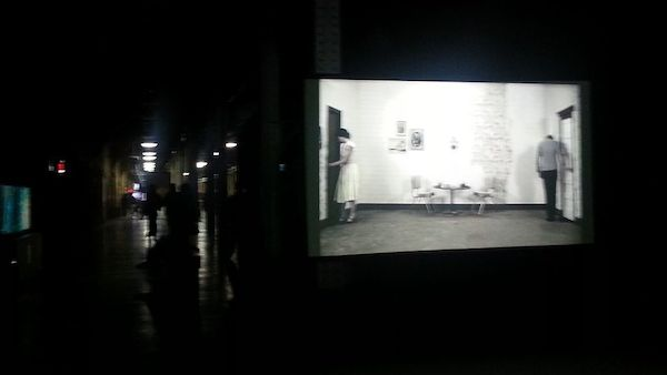 Installation view of Nicholas and Shelia Pye, A Life of Errors, 2006 presented by Curator's Office. The space of the fair extends back behind the screen
